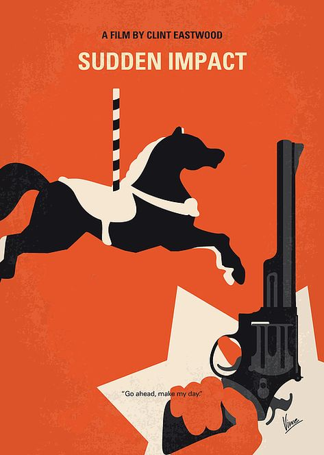 No1267-4 My Dirty Harry Sudden Impact minimal movie poster by Chungkong Art