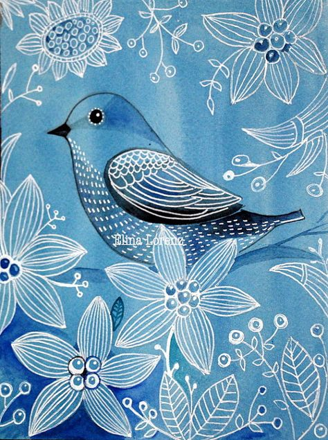 Blue Bird / Bird Art/ Art Print from Original  by sublimecolors, $15.00