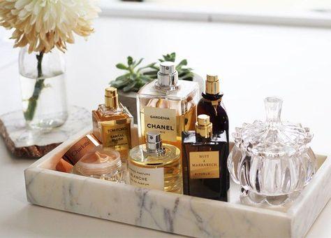 marble tray, tray, perfume bottles