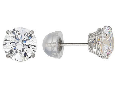 White Cubic Zirconia 10k White Gold Stud Earrings 2 00ctw Szb002w Stud Earrings White Gold Studs Clean Gold Jewelry