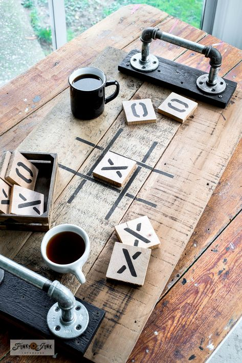 Tic Tac Toe tray game and coasters - Funky Junk Interiors - - Learn how to make a reclaimed wood Tic Tac Toe tray game and coasters for Valentine's Day or everyday, with a Tic Tac Toe stencil from Old Sign Stencils! Funky Junk Interiors, Wooden Crafts, Wooden Diy, Diy Crafts With Pallets, Wood Crafts That Sell, Rustic Wood Crafts, Scrap Wood Projects, Diy Projects, Beginner Wood Projects