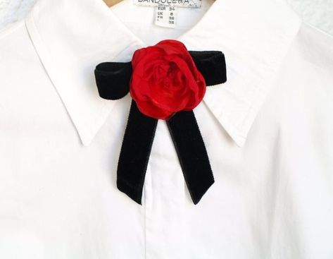 1e3dd879d8f Bow brooch Black velvet Red rose brooch Luxury bow tie Ribbon bow Ladies bow  tie Neck tie women Vict