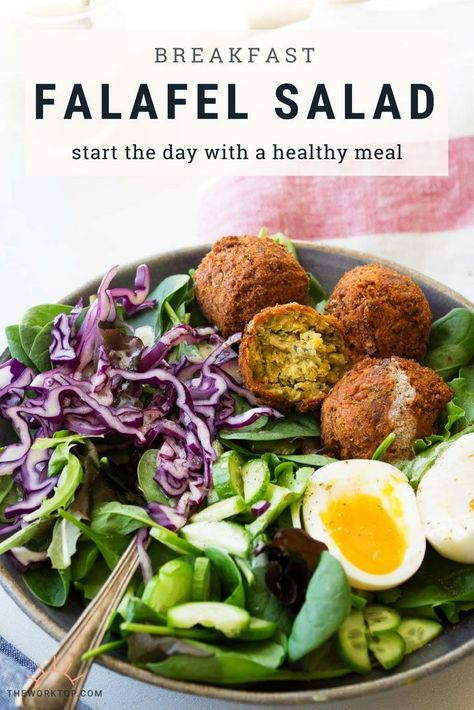 Falafel Salad -- This healthy salad recipe is delicious for brunch or breakfast. Made with a Greek yogurt dressing. A unique vegetarian breakfast idea. Recipe on www.theworktop.com. || #breakfast #salad #brunch #falafels