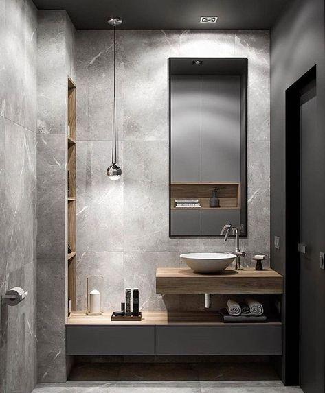"""Modernes Badezimmerdesign auf Instagram: """"_ 🏠 Diese schlanken Materialien passen perfekt ..."""