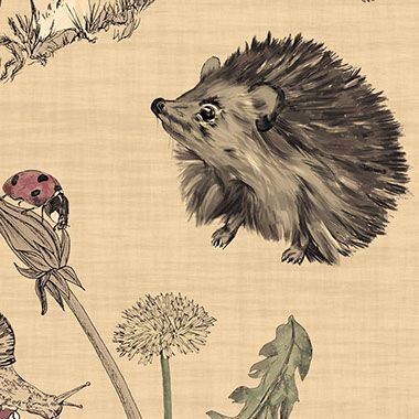 Hide & Seek (detail) | cute woodland hedgehog surface pattern design by Martha Bowyer | Design & Illustration