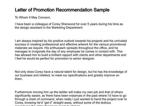 sample of promotion letter
