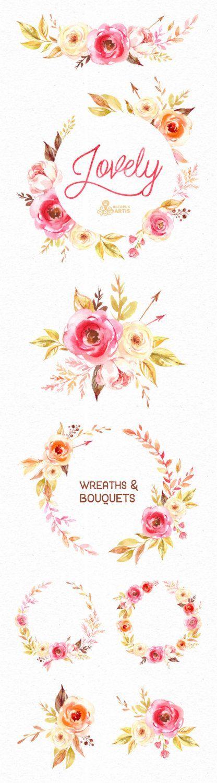 Schone Blumen Kranze Und Blumenstrausse Aquarell Clipart