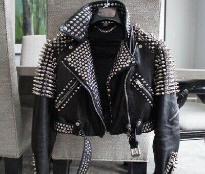 Handmade Brando Style Punk Half Golden Spik Woman Studded Cowhide Leather Jacket In 2020 Spiked Leather Jacket Studded Leather Jacket Leather Jackets Women