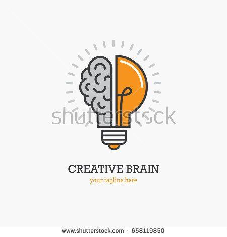 Logo With A Half Of Light Bulb And Brain Isolated On White Background Symbol Of Creativity Creative Idea Typographic Logo Design Typographic Logo Brain Icon