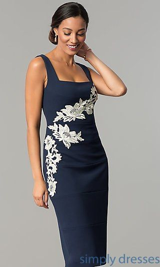 Knee Length Sheath Lace Appliqued Wedding Guest Dress Carrie And