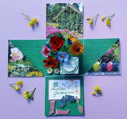 In Der Seitentasche Wurde Ein Gutschein Von Pflanzen Kolle Und Eine Grusskarte Grusskarte Karten Handgemacht Gutscheine Verschenken