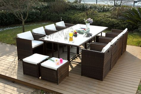 Miami 12 Marron Blanc Salon De Jardin Encastrable Mobilier