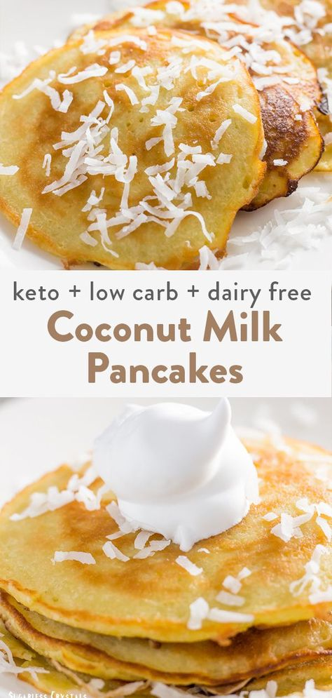 Coconut Milk Pancakes (Dairy Free Keto Low Carb Gluten Free) - Keto Recipes - Ideas of Keto Recipes - These coconut milk pancakes are completely dairy free and keto friendly. Made from scratch pancakes are the best while keeping your recipes healthy. Coconut Milk Pancakes, Coconut Milk Recipes, Coconut Milk Waffle Recipe, Coconut Milk Porridge, Coconut Milk Mousse, Recipes Using Coconut Milk, Cocunut Milk, Best Coconut Milk, Cooking With Coconut Milk