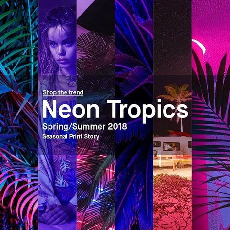 Neon Tropics – Shop the trend now... Artificial Colour / Neon Signage / Beach Nightlife / 80s Graphic Styling / Electric Intensity / Euphoric Energy / Summer Vibrancy / Hyper Tropical / Iridescent Lights
