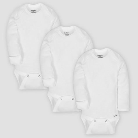 Gerber Baby Organic Cotton 3pk Long Sleeve Onesies Bodysuit with Mitten  Cuff