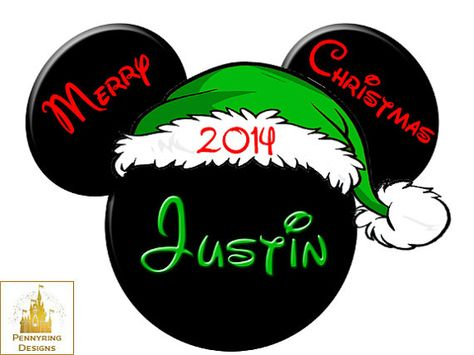 ****DISNEY CHRISTMAS PERSONALIZED****MICKEY** T-SHIRT IRON ON TRANSFER********