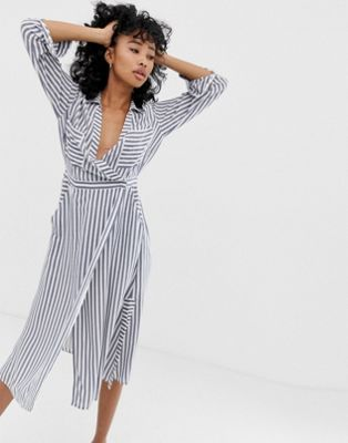 original convenience goods provide large selection of Whistles stripe mix & match wrap shirt dress in 2019 ...