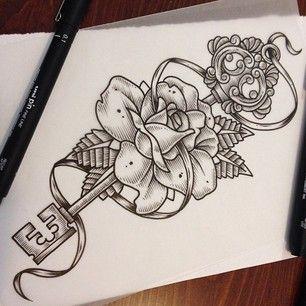 Key and rose #illustration #tattoo #keytattoo #rose #keyandrose #ink #unipin  - _john_hobbs via Instagram