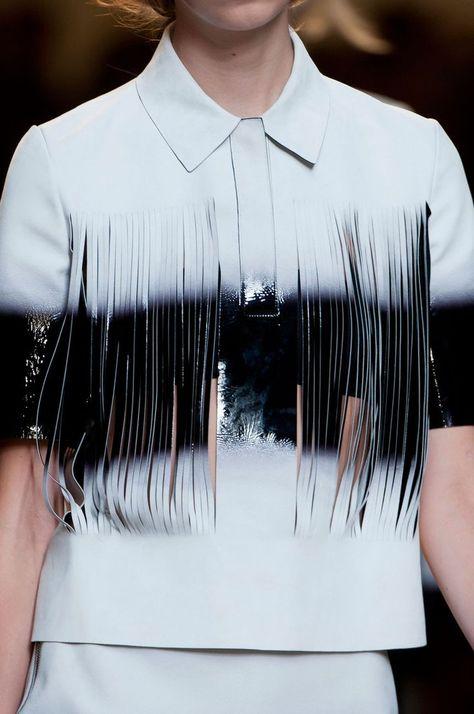 Shredded jacket with spray paint effect; laser cut fashion details // Fendi Spring 2015 Plus