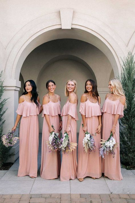 Blush Pink Bridesmaid Dresses, Beautiful Bridesmaid Dresses, Wedding Bridesmaids, Bride Maid Dresses, Bohemian Bridesmaid Dresses, Alternative Bridesmaid Dresses, Blush Pink Maxi Dress, Light Pink Bridesmaid Dresses, Blush Pink Wedding Dress