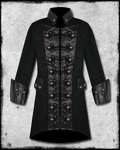 RAVEN SDL MENS BLACK COPPER BUTTON STEAMPUNK GOTHIC MILITARY PIRATE JACKET COAT   eBay