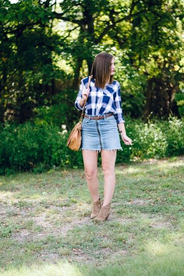acb3c7805 Navy plaid button down and zip front denim skirt #ShopStyle #shopthelook  #MyShopStyle #WeekendLook #OOTD