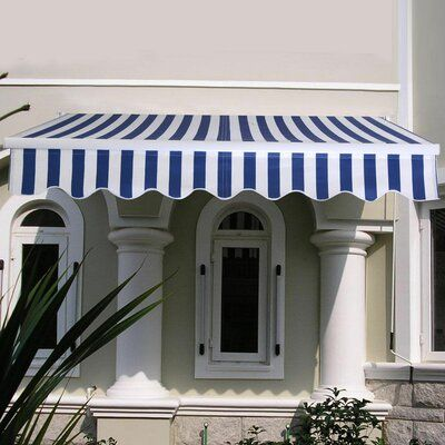 Costway Manual Sun Shade 10 Ft W X 8 Ft D Fabric Retractable Standard Patio Awning Canopy Outdoor Backyard Canopy Canopy Architecture