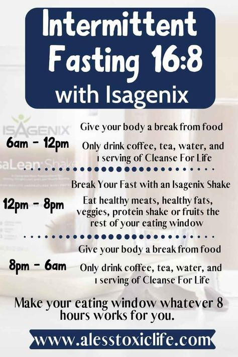 This is an easy schedule to try when you first get started with Isagenix or intermittent fasting. Break your fast with an Isagenix protein shake and take cleanse daily. Buy your Isagenix cleanse here. #isagenixcleanse #detox #fasting