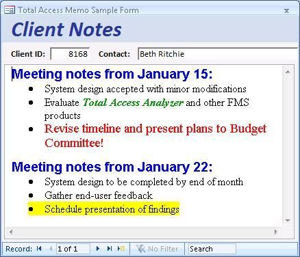 Example of a Rich Text Format Memo Field in a Microsoft Access - feedback forms sample