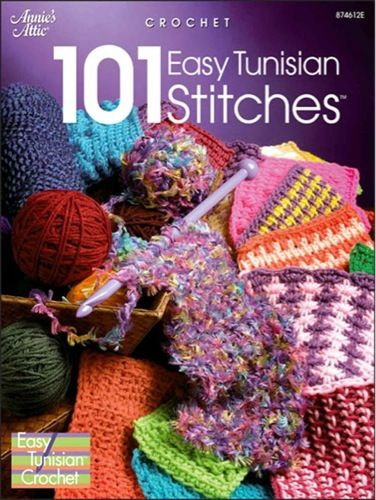 Shell stitches, popcorns and puffs, oh my! Get ready for some stitching fun with this big, colorful volume of easy Tunisian crochet stitch patterns. Step-by-step photos take you through basic Tunisian stitches, and then you'll be on your way to creative enjoyment with all the interesting Tunisian stitch patterns your heart desires. Included are pebbles, popcorns, puffs, shell stitches, lacy patterns, cables, post sti
