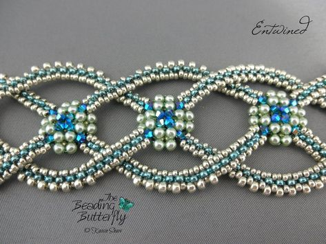 Entwined Bracelet Tutorial - Layered Right Angle Weave and Faux CRAW - Inspired by Celtic rope designs, the interlocking arms of this bracelet are made with right-angle l - Beaded Jewelry Patterns, Bracelet Patterns, Beading Patterns, Beading Tutorials, Free Tutorials, Handmade Jewelry Designs, Armband Tutorial, Bracelet Tutorial, O Beads