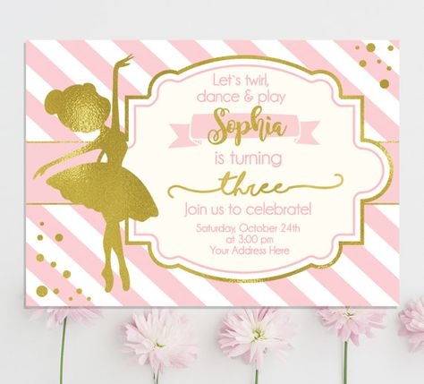Ballerina Invitation - Ballerina Birthday Invitation - Ballerina Party - Pink and gold girls birthday invitation - Ballet - Tutu invites