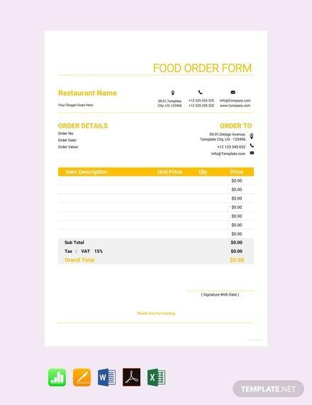 Free Uniform Order Form Order Form Template Order Form