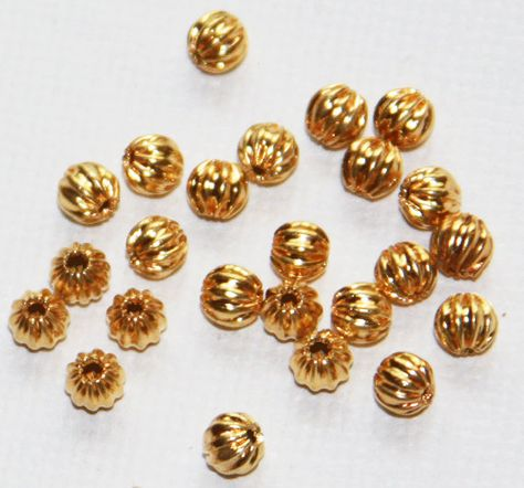 100 Fluted Pure Copper Metal 3mm Corrugated Round Small Little Spacer Beads