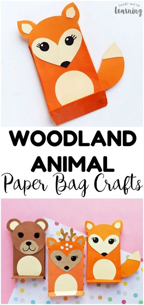 Easy Paper Bag Fox Craft for Kids - Look! We're Learning! #animalcraftsforkids Make these easy paper bag woodland animal crafts, including a super cute paper bag fox craft, with the kids! Perfect for a forest unit! #lookwelearn #craftsforkids #kidscrafts #animalcrafts #easycrafts #papercrafts