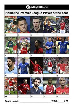Name These Premier League Players Of The Year Premier League Soccer Stars This Or That Questions