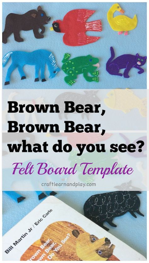 felt board template - Brown bear, brown bear what do you see - Great for speech and language development, sequencing, etc. Flannel Board Stories, Felt Board Stories, Felt Stories, Flannel Boards, Felt Board Templates, Felt Board Patterns, Templates Printable Free, Applique Templates, Applique Patterns