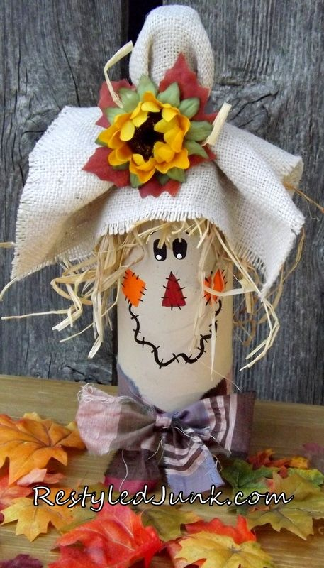 A quick and easy craft project for an Upcycled Wine Bottle Scarecrow by Cyndee Kromminga from Restyled Junk. The wine bottle decor is perfect for Halloween.Wine For Sale Online Refferal: wining tips! Fall Wine Bottles, Wine Bottle Candles, Recycled Wine Bottles, Wine Bottle Art, Painted Wine Bottles, Wine Bottle Crafts, Mason Jar Crafts, Decorated Bottles, Wine Bottle Chimes