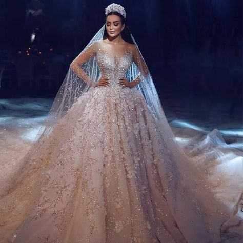 Luxury Haute Couture Ball Gown With Beaded Lace Long Sleeve Ball Gown Wedding Dress Ball Gowns Wedding Ball Gown Wedding Dress