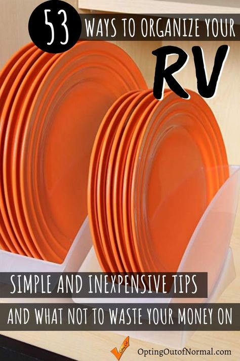 53 Ways to Organize Your RV - We've been on the road for 3 years. Living full time your RV, motorhome, travel trailer or wh - Travel Trailer Living, Small Travel Trailers, Travel Trailer Camping, Rv Camping Tips, Travel Trailer Remodel, Rv Trailers, Camping Car, Food Trailer, Trailer Diy