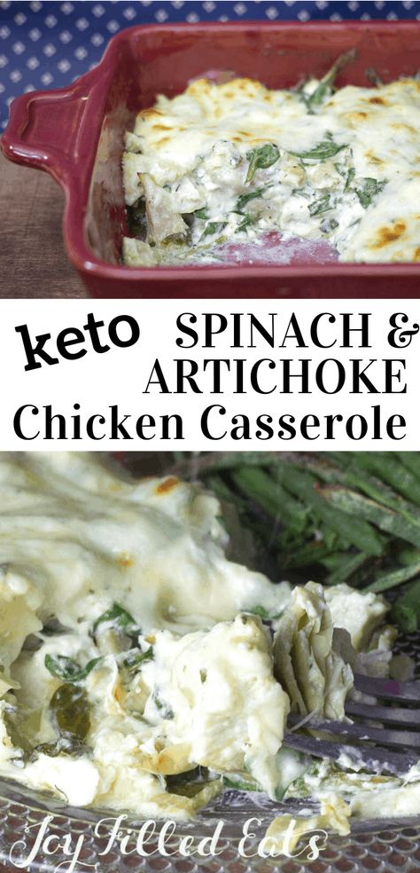 Spinach & Artichoke Chicken Casserole - Low Carb, Grain & Gluten Free, THM S, keto My Spinach & Artichoke Chicken Casserole is an easy make-ahead meal. You can prep it a day or two before and just pop it in the oven for about half an hour before serving. #chicken #chickenrecipes #casserole #comfortfood #easy #dinner #maincourse #lowcarb #lowcarbrecipes #lowcarbdiet #keto #ketorecipes #ketodiet #thm #trimhealthymama #glutenfree #grainfree #glutenfreerecipes #recipes