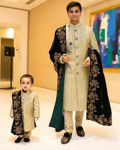 Father and son gorgeous Sherwani.Get the outfit for Manufacturer rate call or WhatsApp at +91-9511613559