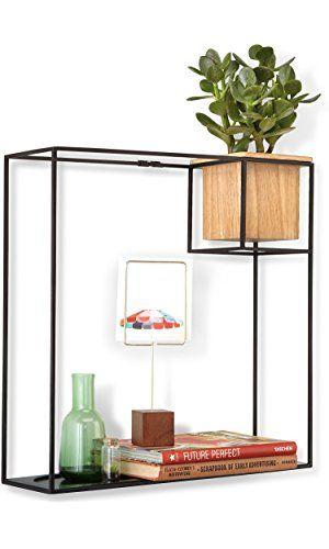 Umbra Cubist Floating Shelf With Built In Succulent Planter