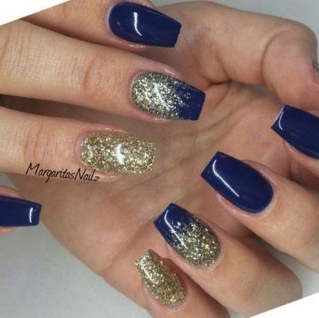 Navy Blue And Gold Nails Gold Acrylic Nails Gold Nails Prom Gold Nails