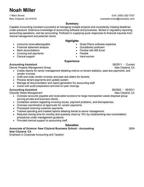 Best Accounting Assistant Resume Example Livecareer Accountant Resume Resume Examples Resume Writing Examples