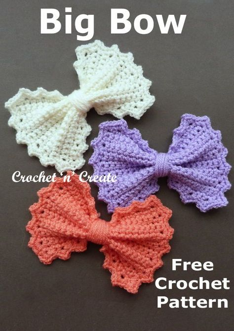 Crochet Bows, Crochet Butterfly, Crochet Gifts, Crochet Motif, Crochet Flowers, Free Crochet, Crochet Appliques, Crochet Hair Accessories, Crochet Embellishments