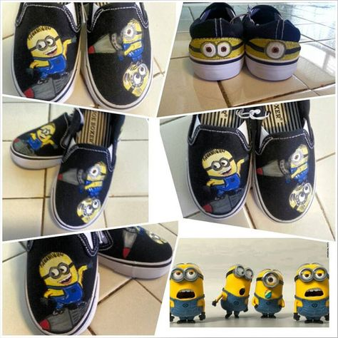 Custom Painted Minion Shoes Despicable Me Size 12 Kids on Etsy, $35.00