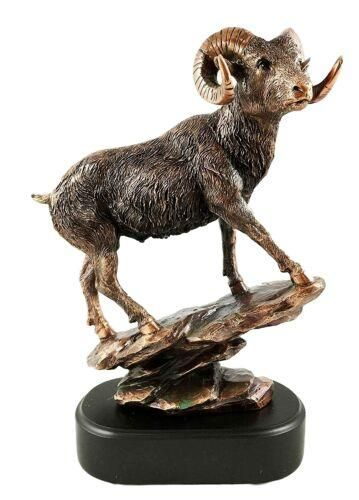 Bighorn Sheep Ram Figurine Glass Amethyst Crystal Gold
