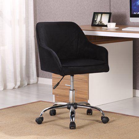 Belleze Modern Office Chair Task Desk Adjustable Swivel Height Velvet Black Walmart Com Modern Office Chair Office Chair Adjustable Desk