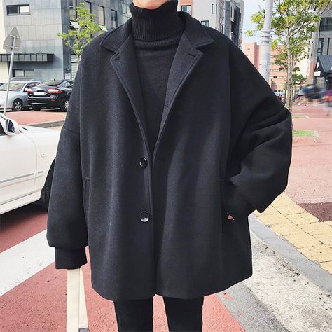 Winter Man Tide Turndown Collar Bat Sleeve Loose Casual Black/Khaki Color Woolen Blends Overcoat Coat Size M Color Black - Spring Fashion Casual, Black Girl Fashion, Winter Fashion Outfits, Men's Fashion, Man Winter Fashion, Grunge Fashion Winter, Fashion Shirts, Ulzzang Fashion, Hipster Fashion